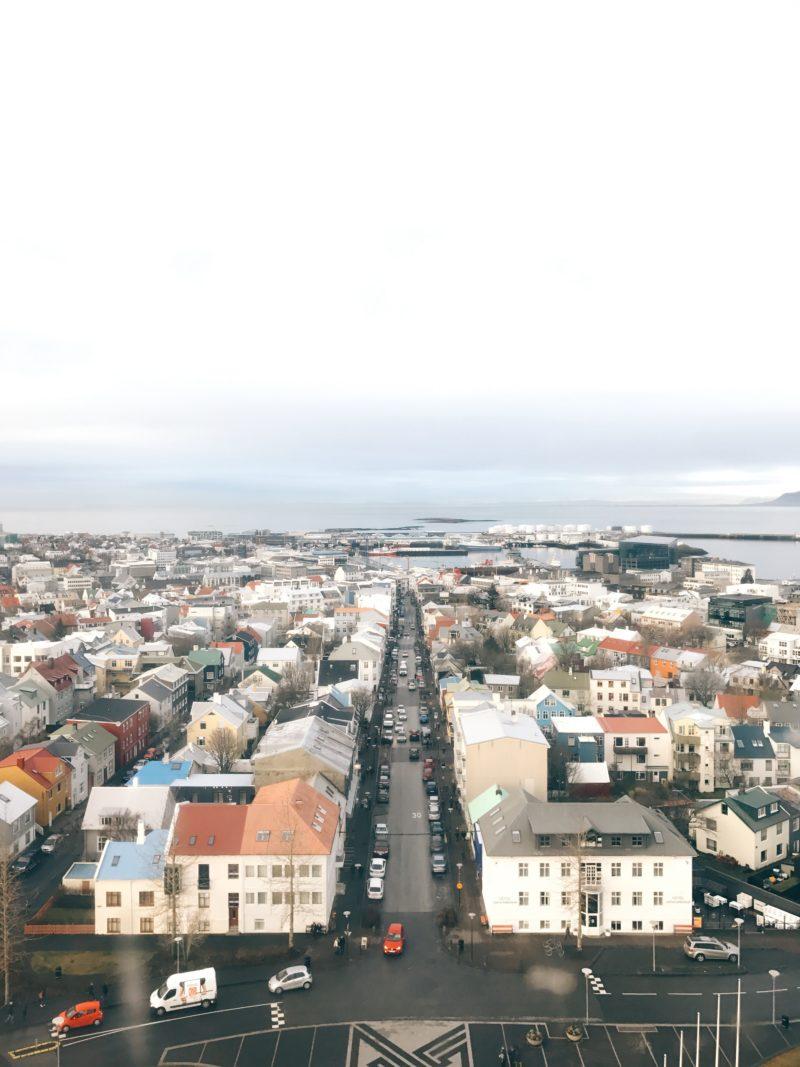 アイスランドの首都のレイキャビクのハットルグリムス教会の展望台から見たカラフルな景色