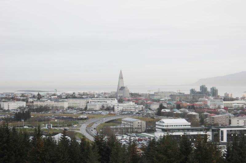 アイスランドの首都のレイキャビクの丘の上から見たハットルグリムス教会