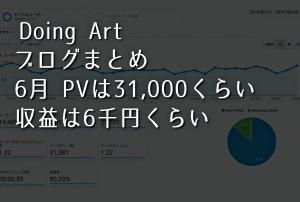 Doing Art ブログまとめ 6月 PVは約31,000 収益は6千円くらい